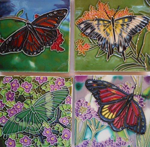Butterfly set of four hand painted coaster ceramic art tiles 4 x 4 inches with easel back