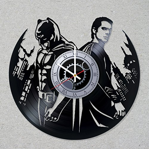 [Contemporary modern justice vinyl record wall clock comics movie home room kitchen decor unique gift ideas for him her boys] (Frank Miller Batman Costume)