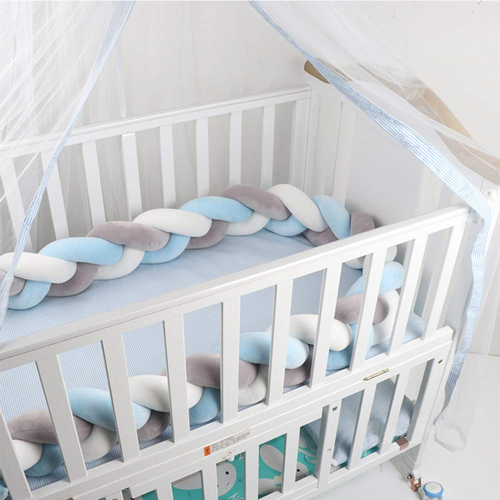 Lion Paw Crib Bed Bumper Pillow Cushion 78.7in Crib Sides Protector Infant Cot Rails Newborn Gift Knotted Braided Plush Nursery Cradle Decor (White-Blue-Gray,Covering Half of Standard Bed)
