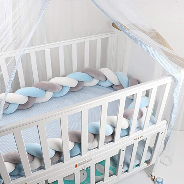 White-Blue-Dark Blue 78.7in Lion Paw Crib Bed Bumper Pillow Cushion 78.7in Crib Sides Protector Infant Cot Rails Newborn Gift Knotted Braided Plush Nursery Cradle Decor