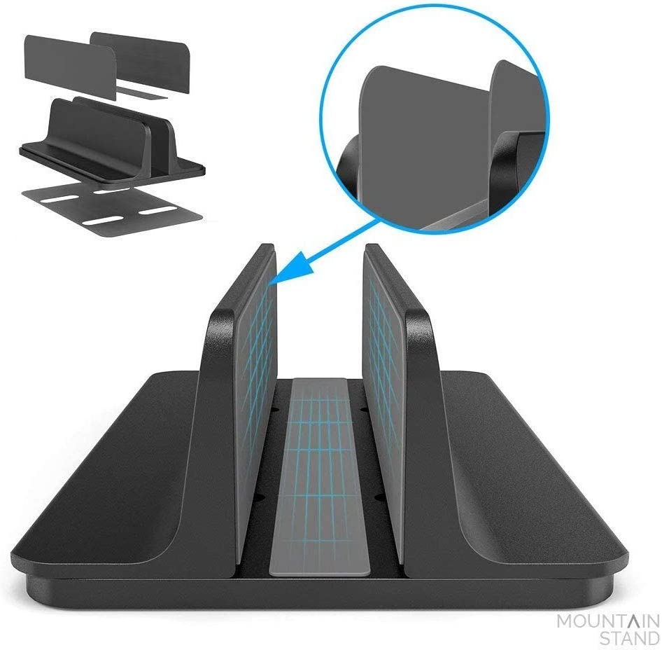 Vertical Adjustable Laptop Stand, Adjustable Laptop Stand Desktop Stand, Adjustable Base Size Compatible for Lenovo/Dell/ASUS Gaming Laptop (up to 17.3 inches) (Black)