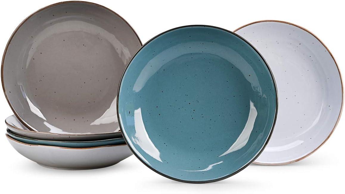 Pasta Bowls Set of 6,Big Ceramic Salad Bowl, Microwave & Dishwasher Safe,Sturdy & Stackable,Housewarming,22 oz