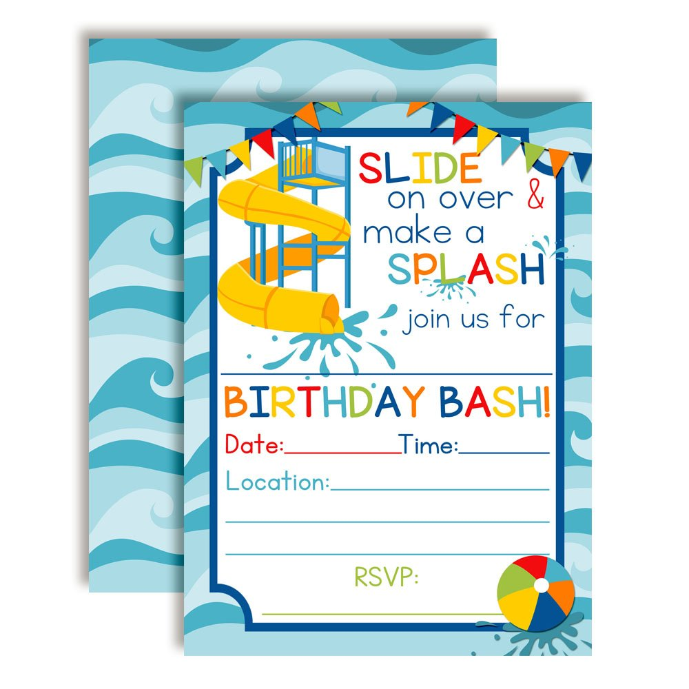 Waterslide Summer Fun Birthday Party Invitations for Boys, Ten 5''x7'' Fill in Cards with 10 White Envelopes by AmandaCreation