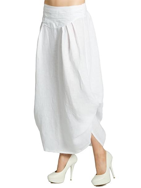f0bc60d50a CASPAR RO016 Donna Gonna Lunga Estiva di Lino, Colore:bianco ...