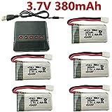 Fytoo 5PCS 3.7V 380mAh 25C Lipo Batterie Akku mit X5 Ladegeräte für Hubsan X4 H107,H107C,H107L RC Quadcopter,Syma X11 X11C,Holy Stone HS170 HS170C F180C HS170G TOZO Q2020