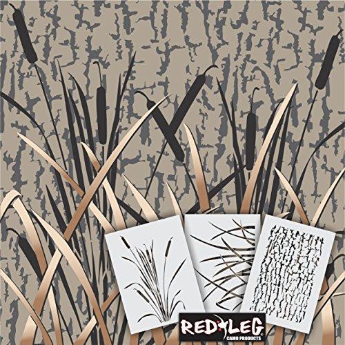 Redleg Camo GKM 3 Piece grass wetland duck camouflage stencil kit 12″x9″