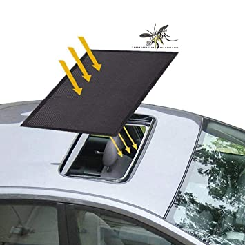 Black ACUMSTE Sunroof Sun Shade Magnetic Net Car Moonroof Mesh 10 Seconds Quick Install Durable UV Sun Protection Cover for Baby Kids Breastfeeding When Parking on Trips