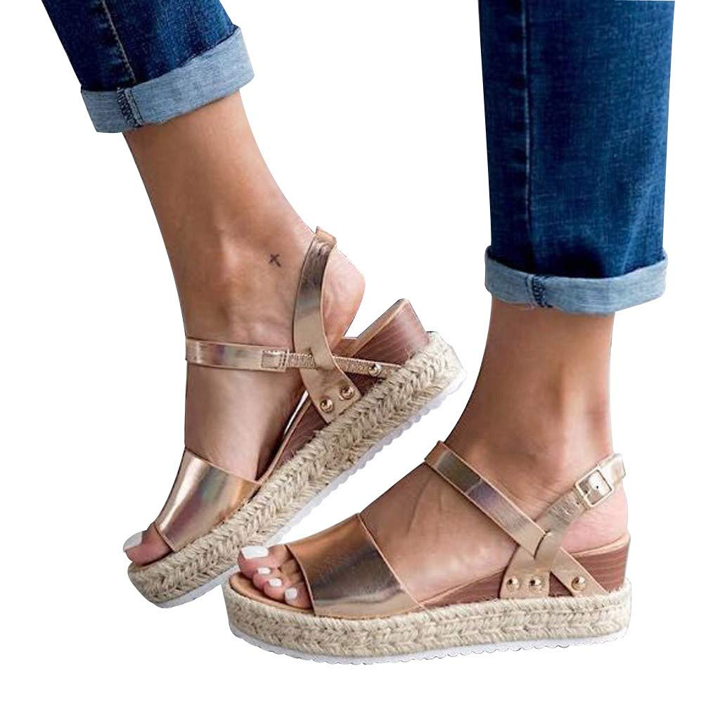 Sharemen Women's Open Toe Strappy Mid Wedge Heel Wood Decoration Buckle Shoes Sandals (Gold,US: 7.5) by Sharemen Shoes (Image #2)