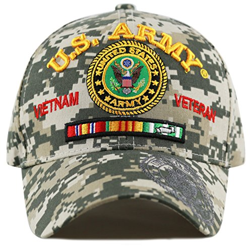 THE HAT DEPOT Official Licensed U.S. Military Vietnam Veteran Ribbon Cap (Digital Camo-U.S. Army) (Camo Hat Us Army)