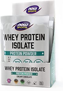 NOW Foods Sports Nutrition, Whey Protein Isolate, 25 G with Bcaas, Creamy Chocolate Powder, 8-Packets, 8 Count
