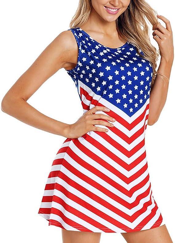 Ladies Print Sleeveless Dress Independence Day American Flag Summer O-Neck Loose Casual Mini Dress MEEYA