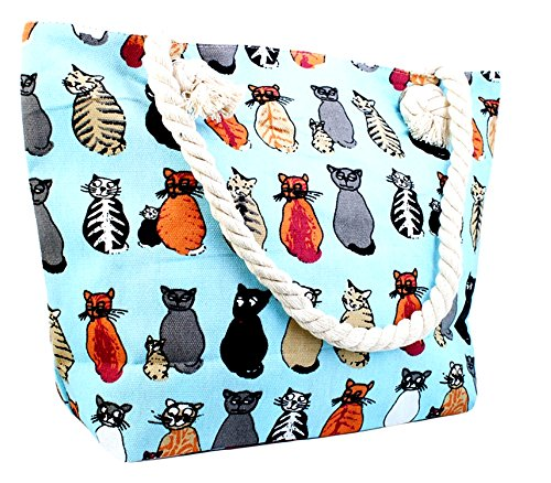 Cat Tote Bag (Canvas Tote Bag - Shoulder Tote, Perfect for School, Work, or the Beach. Large Compartment - Cats on Blue Background Theme 17 x 12)