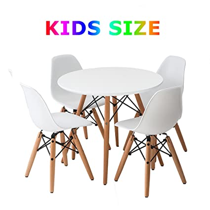 Buschman Set of White Eames Style Kids Dining Room Mid Century Wooden Legs Table and Four  sc 1 st  Amazon.com : kids dining table set - pezcame.com