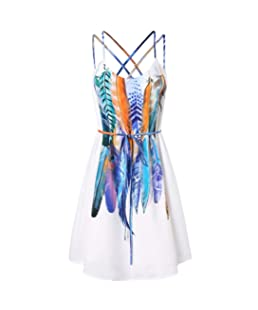 ALIKEEY Women Casual Printed Feathers Pattern Cami Strap Dress (XL, White)