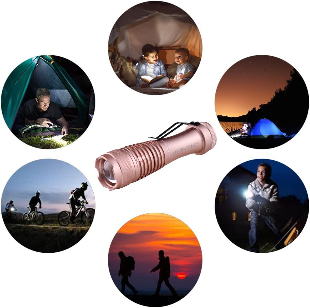 MYWHITENG LED Flashlight Portable Super Bright Flashlight with Lighting Modes Blackouts Camping Hiking Hunting Golden Outdoor Little Torch for Kids Running