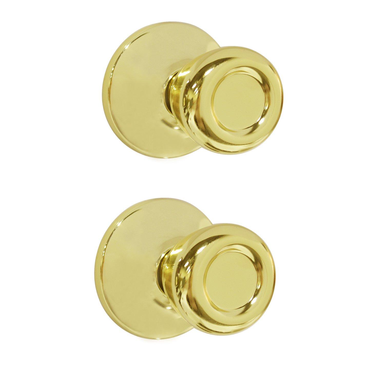 Dummy Interior Door Knob Set Tulip Shape Handles Decorative Inactive Trim Knob for Right or Left Handed Door, Polished Brass, 2 Pack