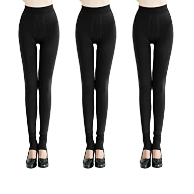 486003205fe1b2 QRANSS Womens Autumn Winter Style Thermal Tights Flocking Warm Thick Full  Length Fleece Leggings (Pack of 3): Amazon.co.uk: Clothing