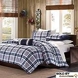 Mi-Zone Full/Queen Size Comforter Set of 4 in Blue Plaids Design for Teens Bedroom, Block Plaid Stripe Design, Cute Cozy