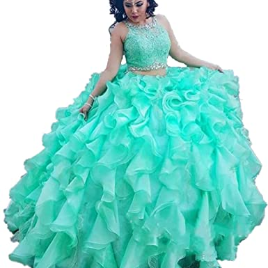cc2b5825129d Formaldresses Ball Gown Mint Green Quinceanera Dress 2 Piece Plus Size Quinceanera  Gowns Sweet 16 Dress at Amazon Women s Clothing store