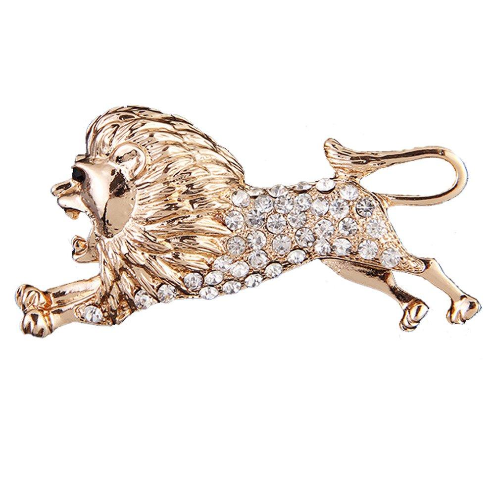JUST N1 Golden King of Forest Lion Shape Brooch Pins Costume Lapel Brooch Pin Badge For Men Women