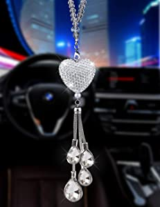 Alotex Bling White Heart Diamond Car Accessories,Crystal Car Rear View Mirror Charms Car Decoration Decor,Lucky Hanging Interior Ornament Pendant Sun Catch (Silver-White)