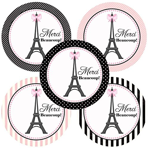 Paris Merci Beaucoup Sticker Labels - Birthday Baby Shower Bridal Wedding Party Favors - Set of 50