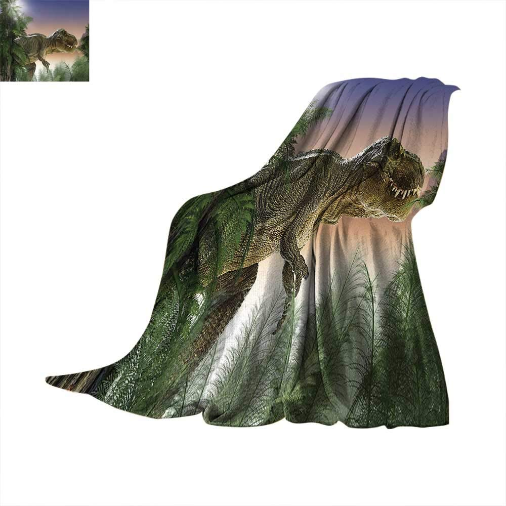 Anhuthree Jurassic Super Soft Lightweight Blanket Dinosaur in The Jungle Trees Forest Nature Woods Scary Predator Violence Summer Quilt Comforter 60''x50'' Green Blue Peach