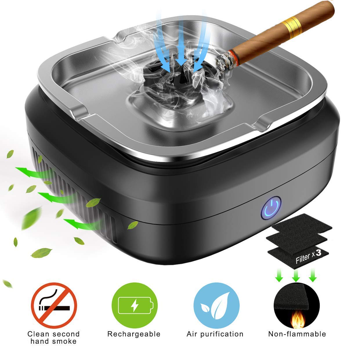 FORTGESCHE Smokeless Ashtray, Newest Cigar Ashtray for Cigarettes Indoor and Outdoor, Desktop Ash Tray USB Rechargeable 8000mAh for Home Office Car 3 Pcs Filter Nets Include