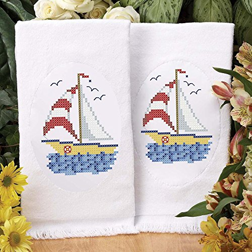Herrschners® Sail Away Terry Towel Pair Stamped Cross-Stitch
