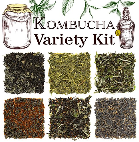 Solstice Kombucha Loose Leaf Tea Variety Kit -Sampler Assortment Features 6 Favorite Hand-Mixed Blends Perfect For Beginner & Enthusiast Brewing - Creates Approx 12-15 Gallons Total (Best Tea For Kombucha Brewing)