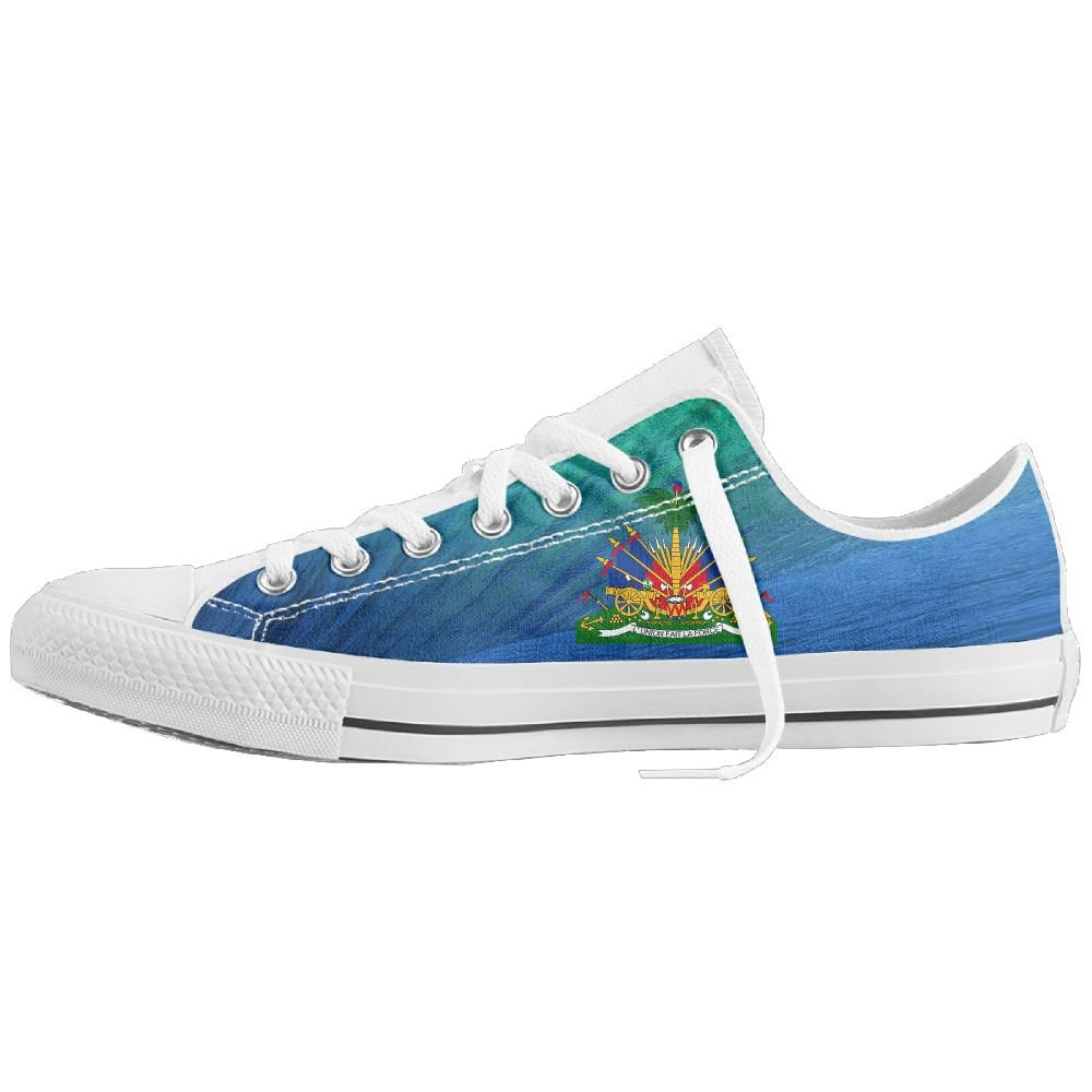 Coat Of Arms Of Haiti Unisex Classic Canvas Lace Up Shoes Sneakers For Men & Women