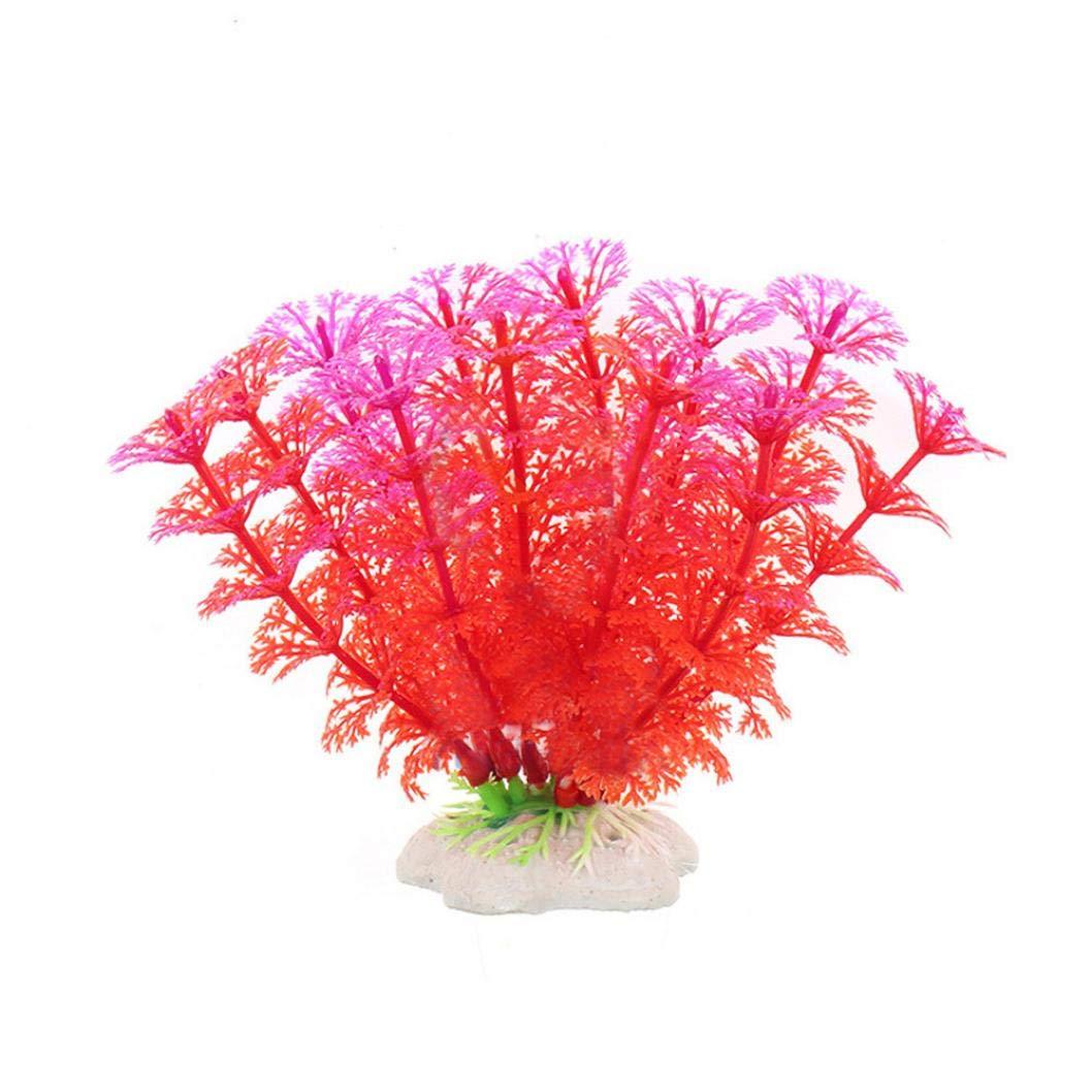 Kingko6pcs pecera Acuario Algas decoración Plantas de plástico de Colores bajo el Agua: Amazon.es: Productos para mascotas