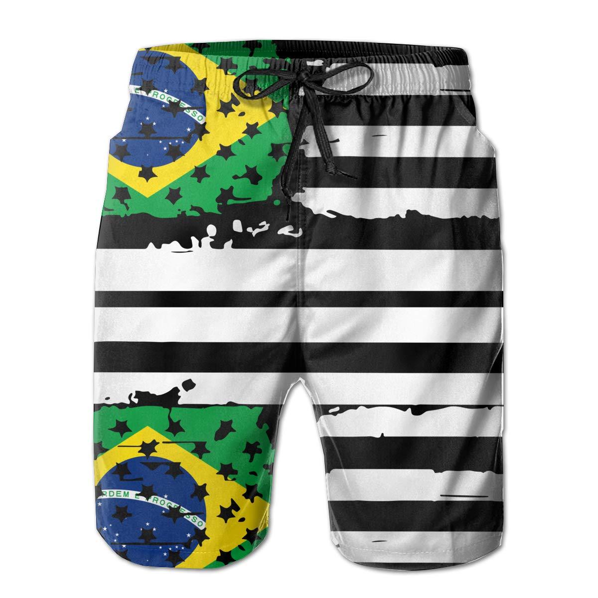 STDKNSK9 Mens USA Flag Brazil Board Shorts Beach Shorts