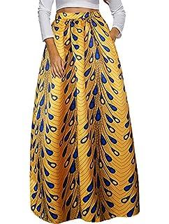 86a30cb713 Women's African Printed Pleated Maxi Skirt High Waist A Line Dress ...