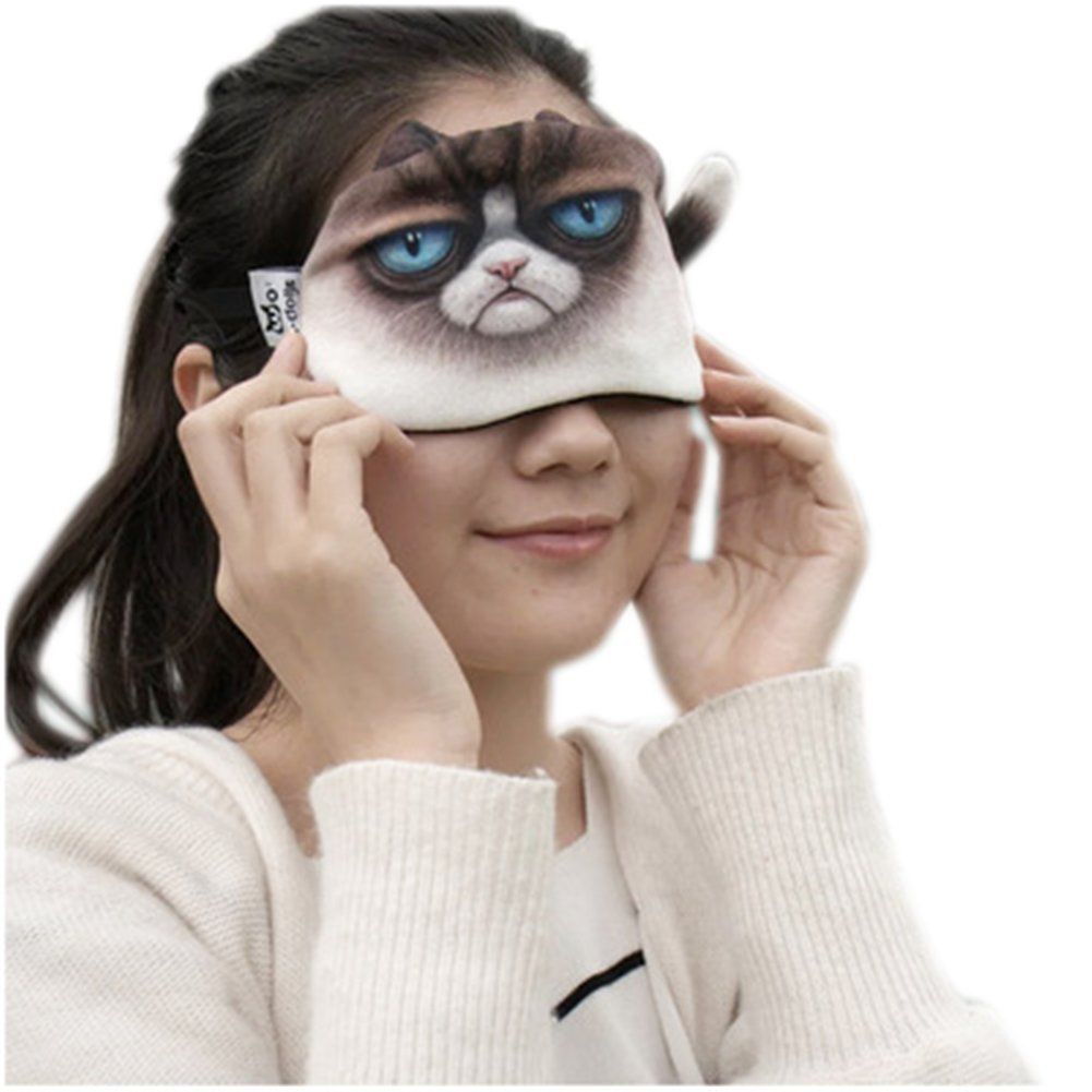 Remeehi Novelty 3D Cat Cartoon Stretchy Sleep Mask Blindfold with Ice Pad (Pattern 4)