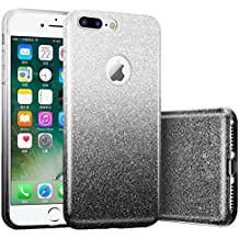 iPhone 8 Case, Unov iPhone 7 Case Glitter Bling Sparkle 3 Layers Hard PC with Soft TPU Bumper Protective Cover for iPhone 8 iPhone 7 4.7 Inch(Ombre Black)