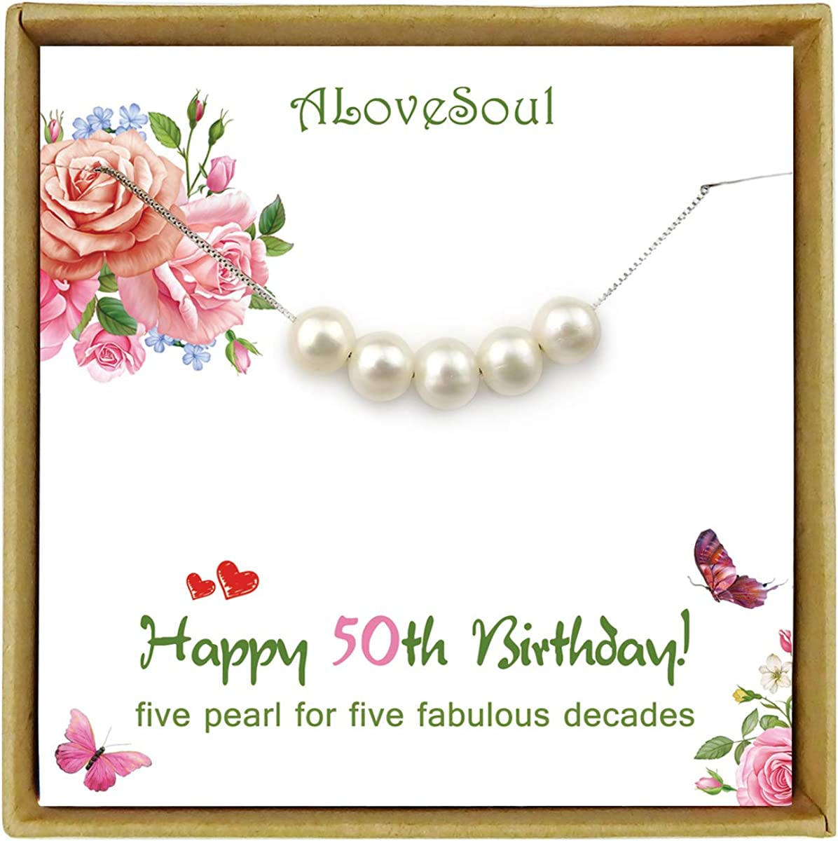 ALoveSoul 30th Birthday Gifts for Women 1990 Birthday Gifts Ideas 3 Decade Jewelry 30 Years Old 3 Pearls 925 Sterling Silver Necklace for Her