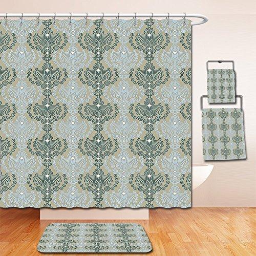 Nalahome Bath Suit: Showercurtain Bathrug Bathtowel Handtowel Decorative Abstract Art Damask Decor Floral Ornament Background Wallpaper Pattern Print Blue and - Macy's Eagle Rock