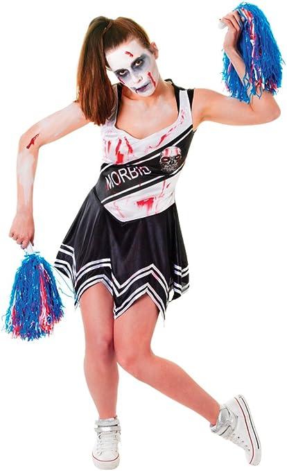 HALLOWEEN ZOMBIE CHEERLEADER SIZE 12-14 LADIES BNIW LADIES INCLUDES DRESS /& POMS