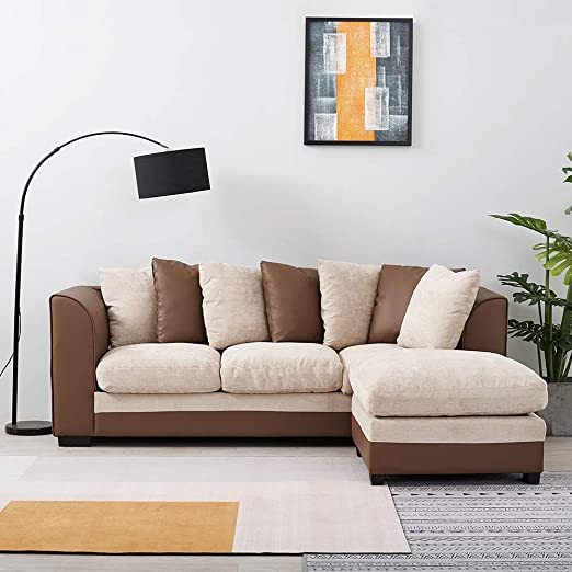 3 Seater Faux Leather and Fabric Sofa Corner Couch Modern