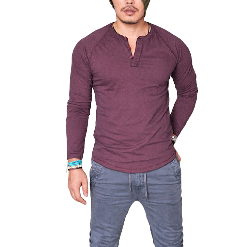 XWDA Henley Shirt Mens Long Sleeve Buttons T-Shirt Casual Muscle Tops Tee Blouse 1799