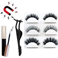 Onlyoily Cils Magnétique Naturel Magnétique Eyeliner Kit De Cils Magnétiques, Eye-Liner Eyeliner Liquide Noir Et Lisse, Imperméable, Réutilisable 3 Pair Aimants 3D Faux Cils sans Colle, avec Pincette