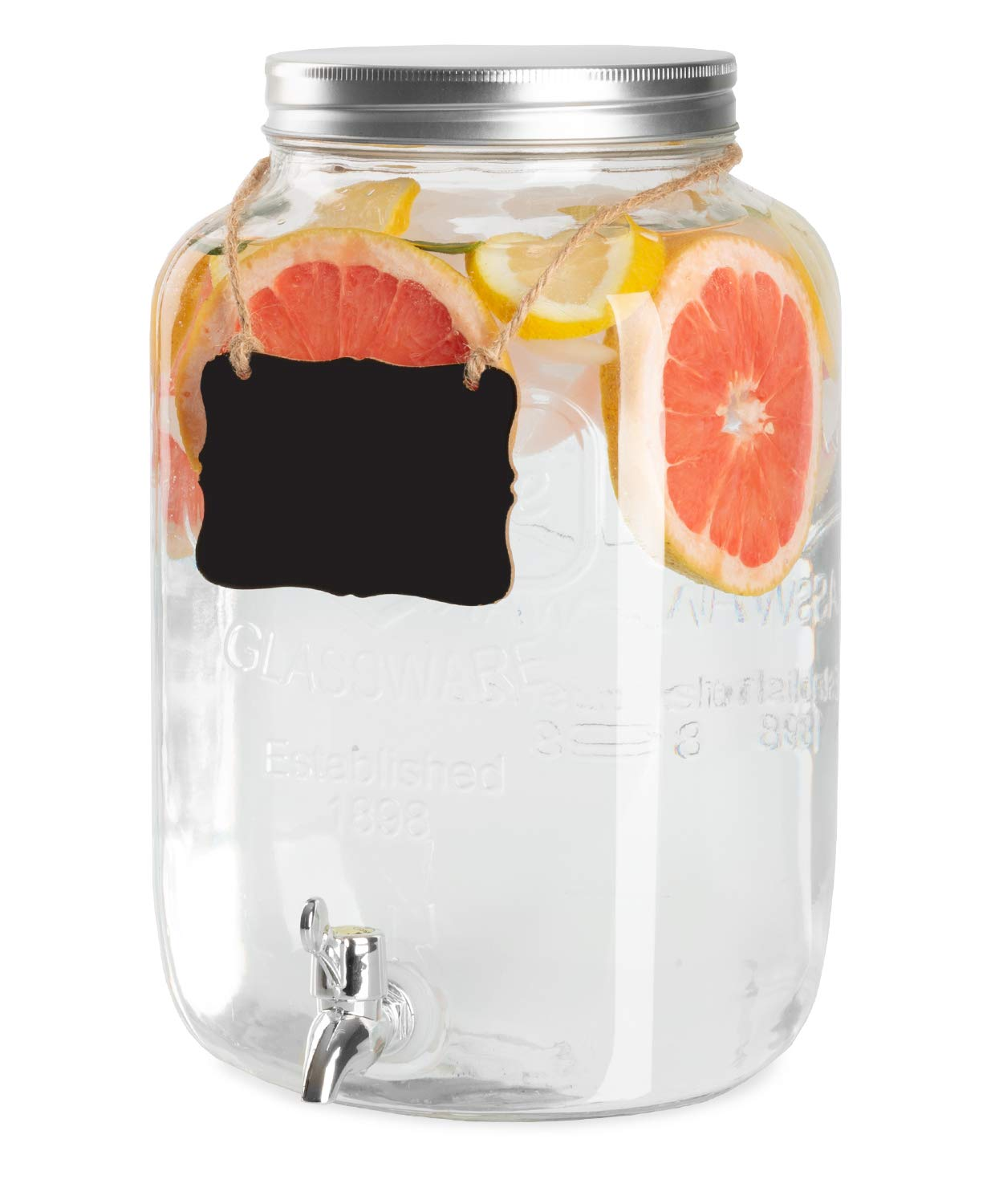 Outdoor Glass Beverage Dispenser with Hanging Chalkboard & Chalk - 2 Gallon Drink Dispenser for Lemonade, Tea, Cold Water & More