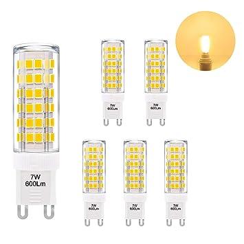 ENUOTEK Lamparas Bombillas de Maiz Pequeñas de LED Casquillo G9 GU9 7W 600Lm Luz Calida 3000K AC220-240V Equivalentes a Lamparas Halogenas de 60W Lot de 6: ...