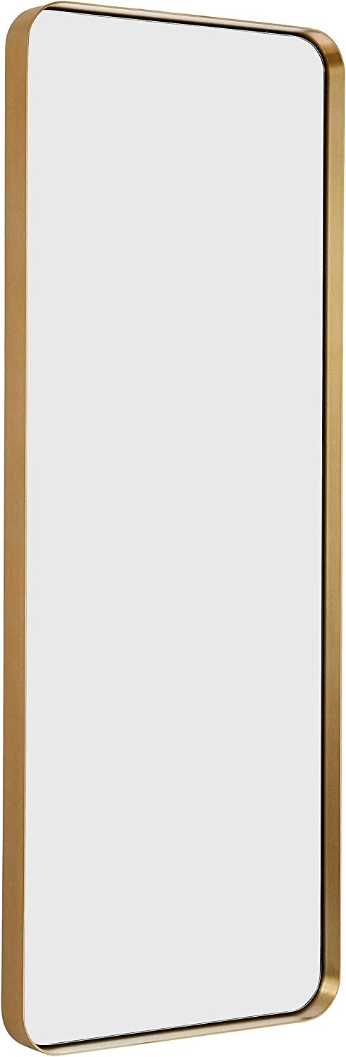 "Hamilton Hills Contemporary Brushed Metal Tall Gold Wall Mirror | Glass Panel Gold Framed Rectangle Deep Set Design (18"" x 48"")"