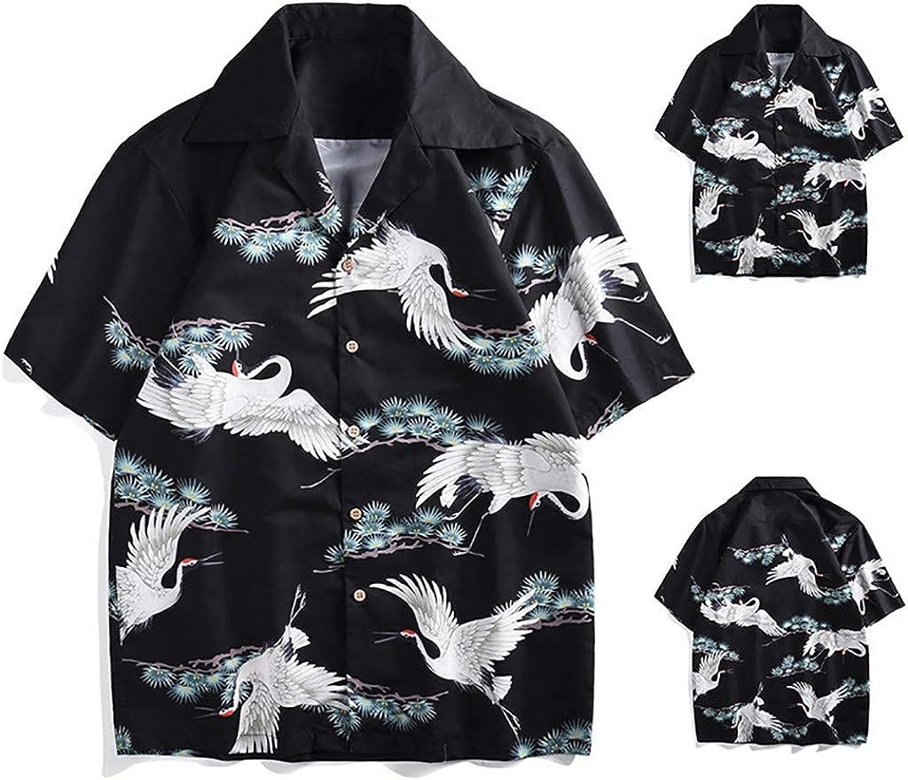 Men/'s Hawaiian Funny Pattern Slim-Fit Shirts Casual Button Down Short Sleeve Shirt Holiday Beach Aloha Blouse by Leegor