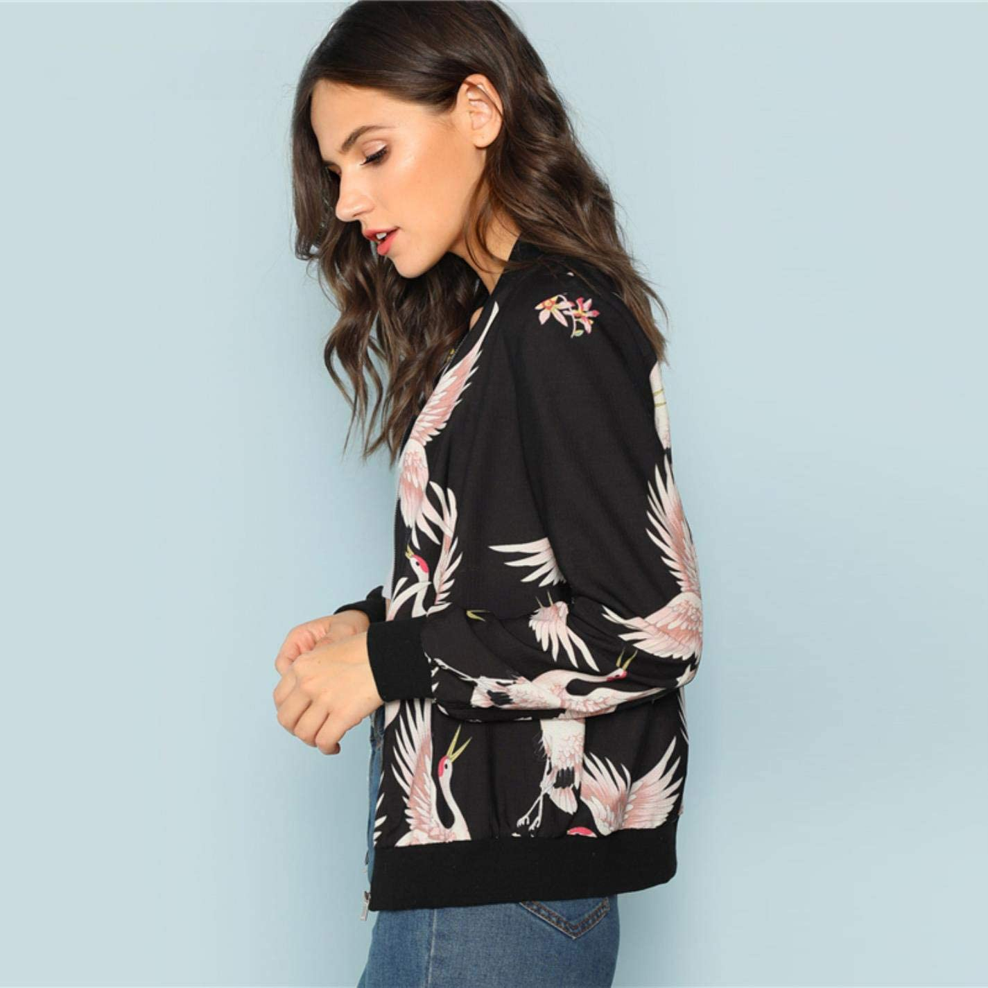 Black Flamingo Print Zip Up Jacket Casual Streetwear Animal Bomber