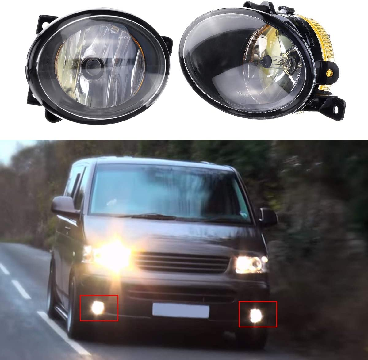 Niceen Car Front Fog Lights Spot Lamp with Bulb Amber for VW T5 T5.1 Transporter 2010 On Right