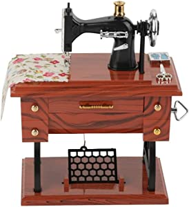 Vintage Mini Sewing Machine Music Box,Retro Classical Treadle Sewing Machine Table Desk Mechanical Clockwork Music Box for Home Decor