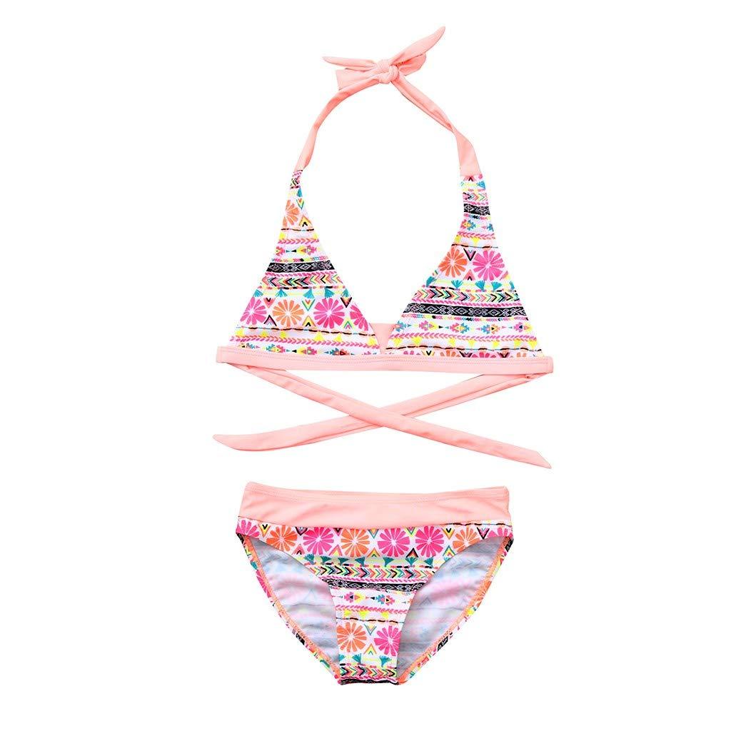 NUWFOR Children Girls Bikini Beach Flower Print Swimsuit+Shorts Swimwear Set Outfit(Pink,7-8 Years)